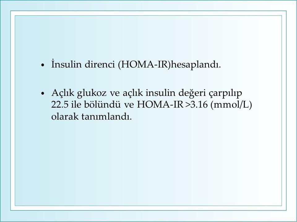 İnsulin direnci (HOMA-IR)hesaplandı. Açlık glukoz ve açlık insulin değeri çarpılıp 22.5 ile bölündü ve HOMA-IR >3.16 (mmol/L) olarak tanımlandı.