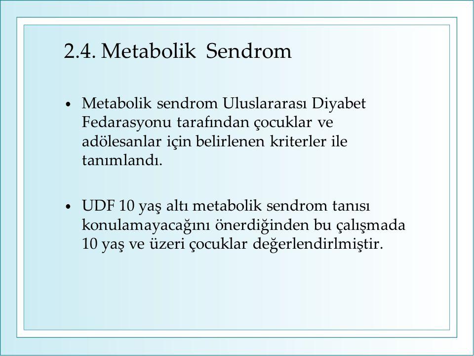 2.4. Metabolik Sendrom Metabolik sendrom Uluslararası Diyabet Fedarasyonu tarafından çocuklar ve adölesanlar için belirlenen kriterler ile tanımlandı.