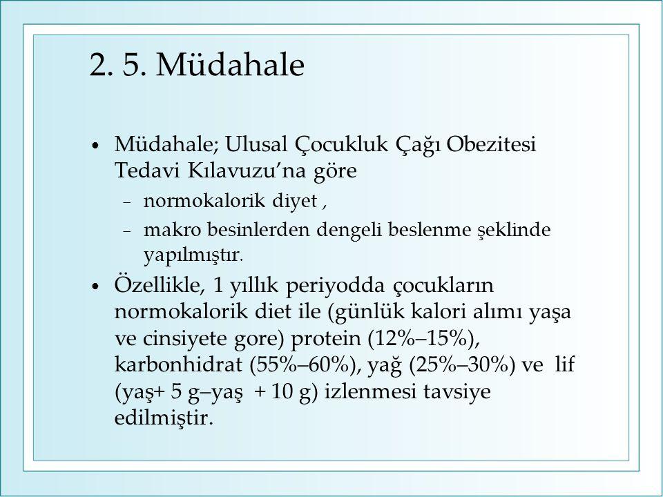 2. 5. Müdahale Müdahale; Ulusal Çocukluk Çağı Obezitesi Tedavi Kılavuzu'na göre − normokalorik diyet, − makro besinlerden dengeli beslenme şeklinde ya