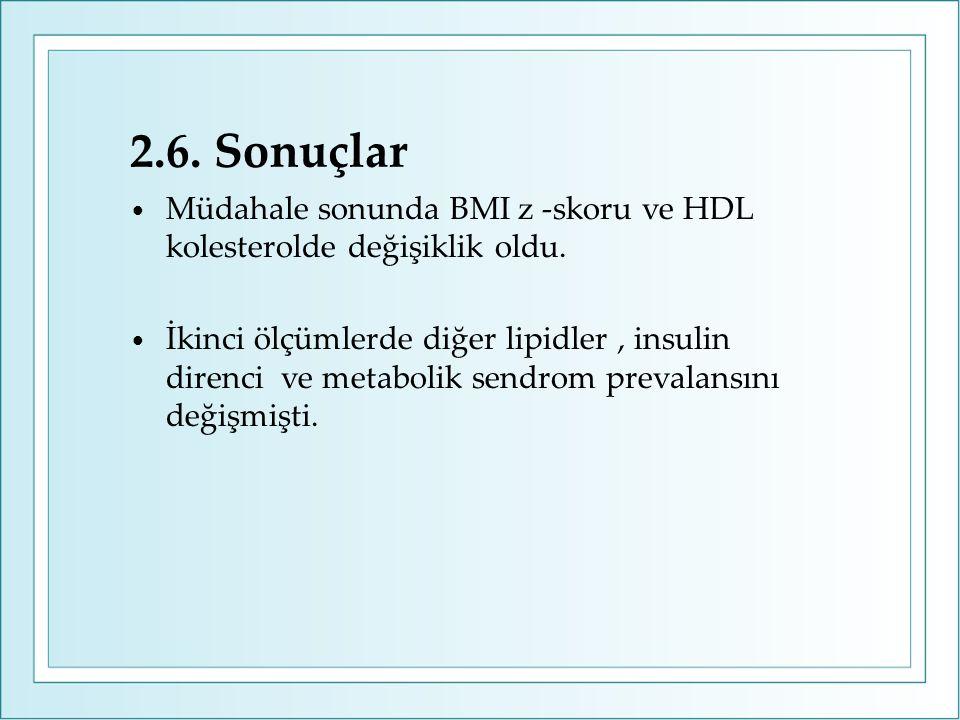 2.6. Sonuçlar Müdahale sonunda BMI z -skoru ve HDL kolesterolde değişiklik oldu. İkinci ölçümlerde diğer lipidler, insulin direnci ve metabolik sendro