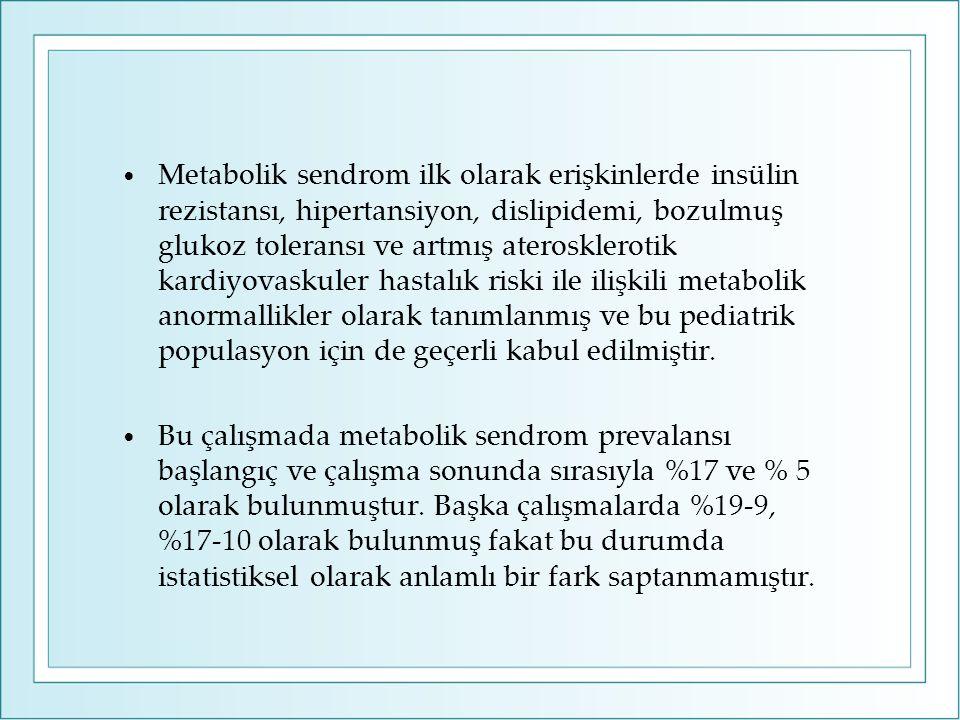 Metabolik sendrom ilk olarak erişkinlerde insülin rezistansı, hipertansiyon, dislipidemi, bozulmuş glukoz toleransı ve artmış aterosklerotik kardiyova