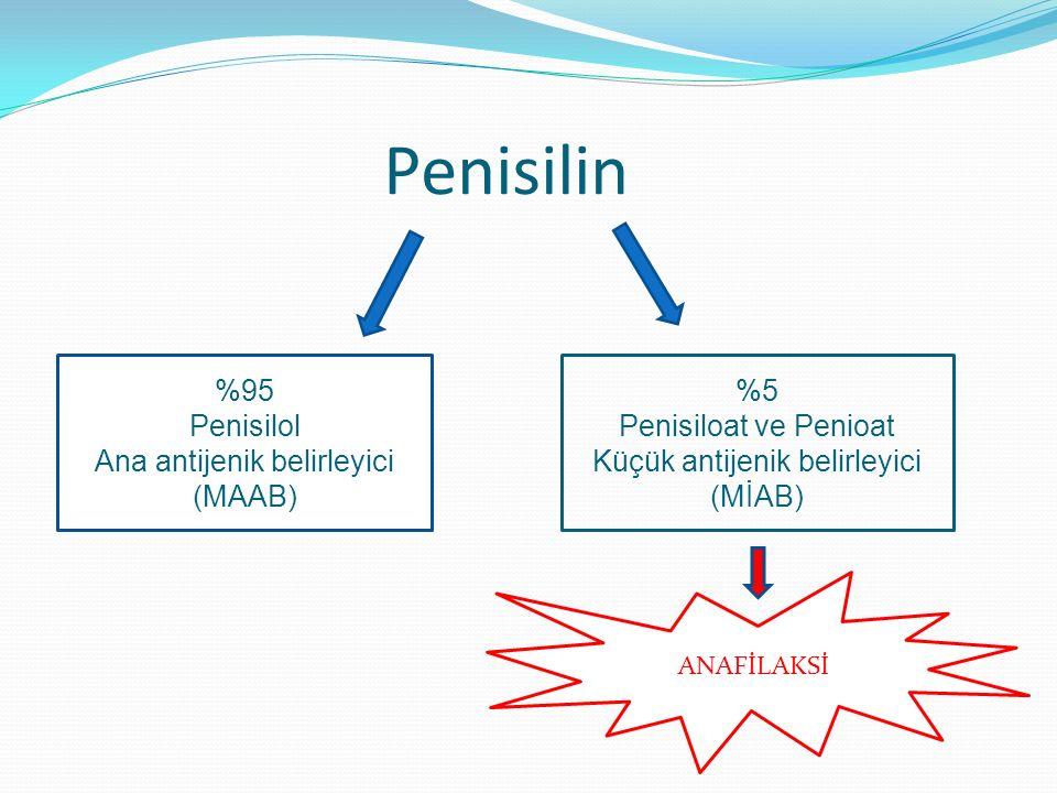 Penisilin %95 Penisilol Ana antijenik belirleyici (MAAB) %5 Penisiloat ve Penioat Küçük antijenik belirleyici (MİAB) ANAFİLAKSİ