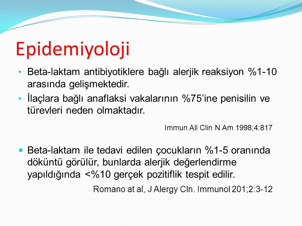Epidemiyoloji Beta-laktam antibiyotiklere bağlı alerjik reaksiyon %1-10 arasında gelişmektedir. Beta-laktam antibiyotiklere bağlı alerjik reaksiyon %1