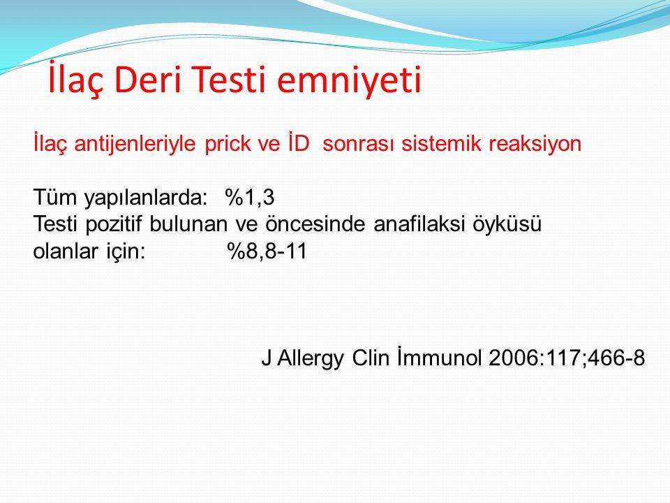 İlaç Deri Testi emniyeti İlaç antijenleriyle prick ve İD sonrası sistemik reaksiyon Tüm yapılanlarda: %1,3 Testi pozitif bulunan ve öncesinde anafilak