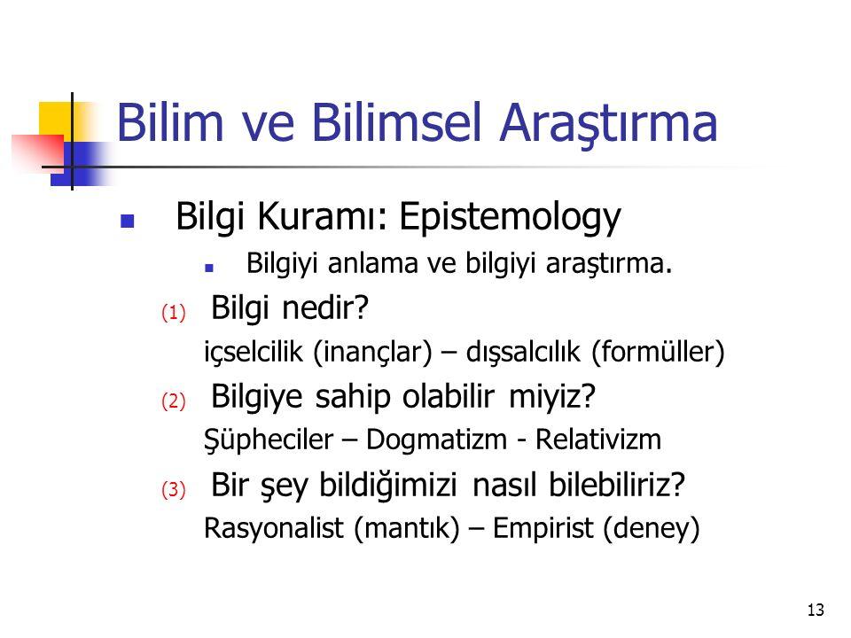 13 Bilim ve Bilimsel Araştırma Bilgi Kuramı: Epistemology Bilgiyi anlama ve bilgiyi araştırma.