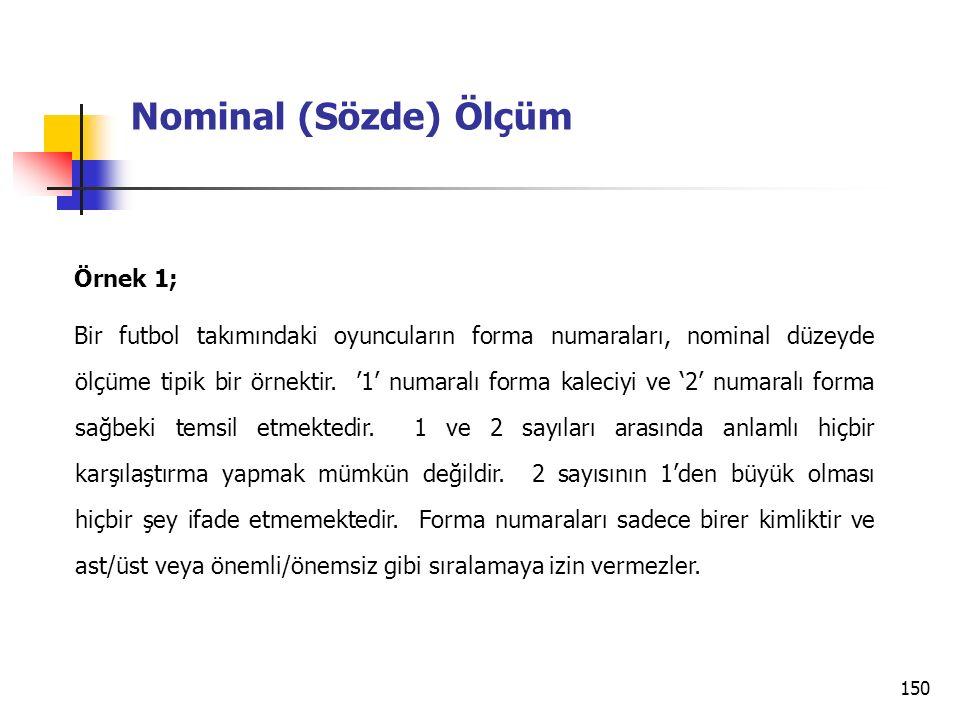 150 Nominal (Sözde) Ölçüm Örnek 1; Bir futbol takımındaki oyuncuların forma numaraları, nominal düzeyde ölçüme tipik bir örnektir. '1' numaralı forma