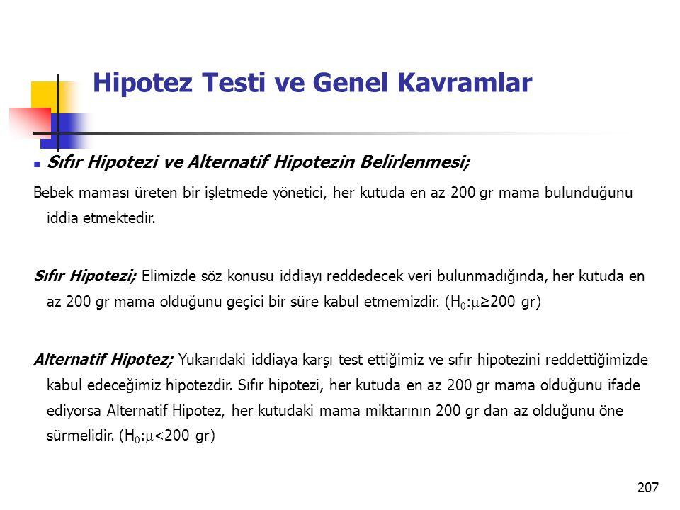 207 Hipotez Testi ve Genel Kavramlar Sıfır Hipotezi ve Alternatif Hipotezin Belirlenmesi; Bebek maması üreten bir işletmede yönetici, her kutuda en az