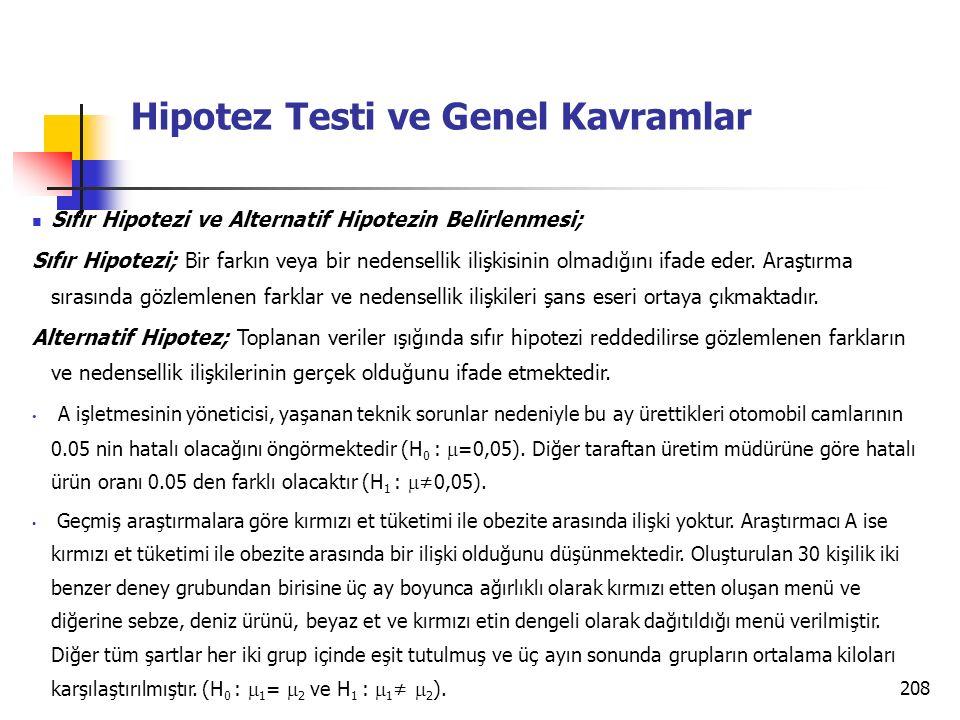 208 Hipotez Testi ve Genel Kavramlar Sıfır Hipotezi ve Alternatif Hipotezin Belirlenmesi; Sıfır Hipotezi; Bir farkın veya bir nedensellik ilişkisinin olmadığını ifade eder.