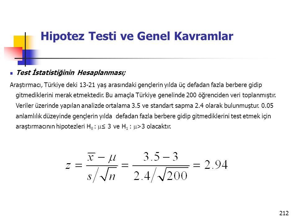 212 Hipotez Testi ve Genel Kavramlar Test İstatistiğinin Hesaplanması; Araştırmacı, Türkiye deki 13-21 yaş arasındaki gençlerin yılda üç defadan fazla berbere gidip gitmediklerini merak etmektedir.