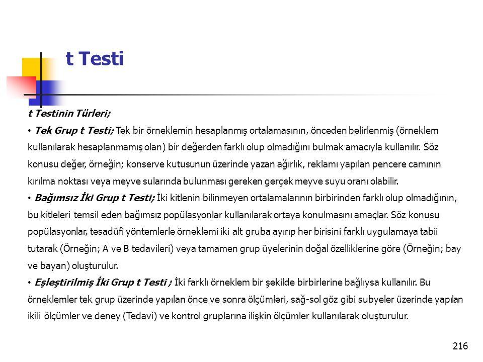 216 t Testi t Testinin Türleri; Tek Grup t Testi; Tek bir örneklemin hesaplanmış ortalamasının, önceden belirlenmiş (örneklem kullanılarak hesaplanmamış olan) bir değerden farklı olup olmadığını bulmak amacıyla kullanılır.