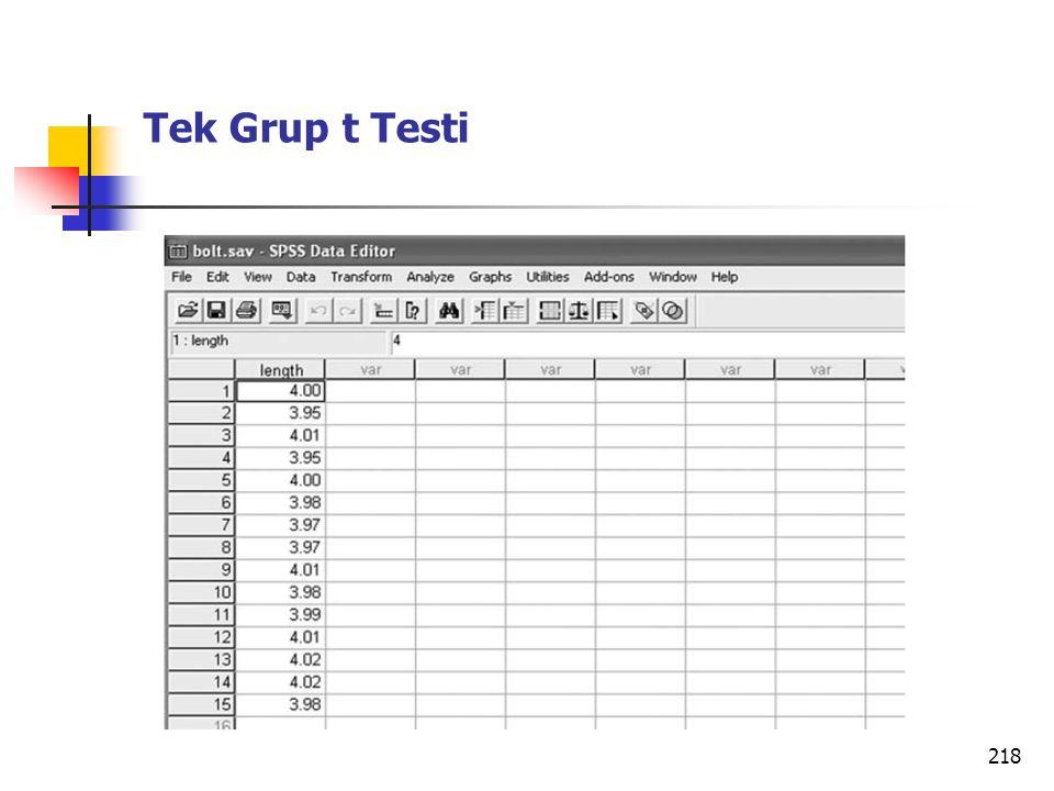 218 Tek Grup t Testi