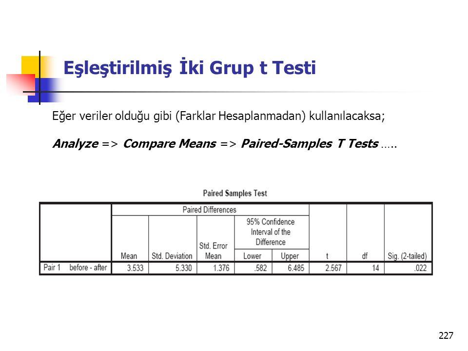 227 Eşleştirilmiş İki Grup t Testi Eğer veriler olduğu gibi (Farklar Hesaplanmadan) kullanılacaksa; Analyze => Compare Means => Paired-Samples T Tests …..