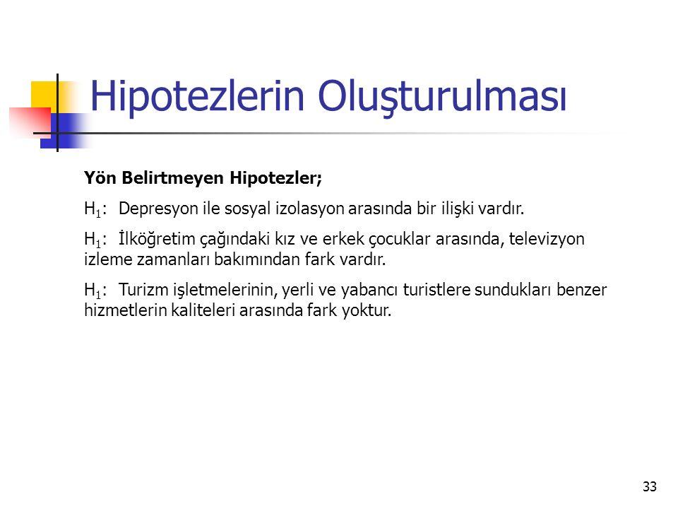 33 Hipotezlerin Oluşturulması Yön Belirtmeyen Hipotezler; H 1 : Depresyon ile sosyal izolasyon arasında bir ilişki vardır. H 1 : İlköğretim çağındaki