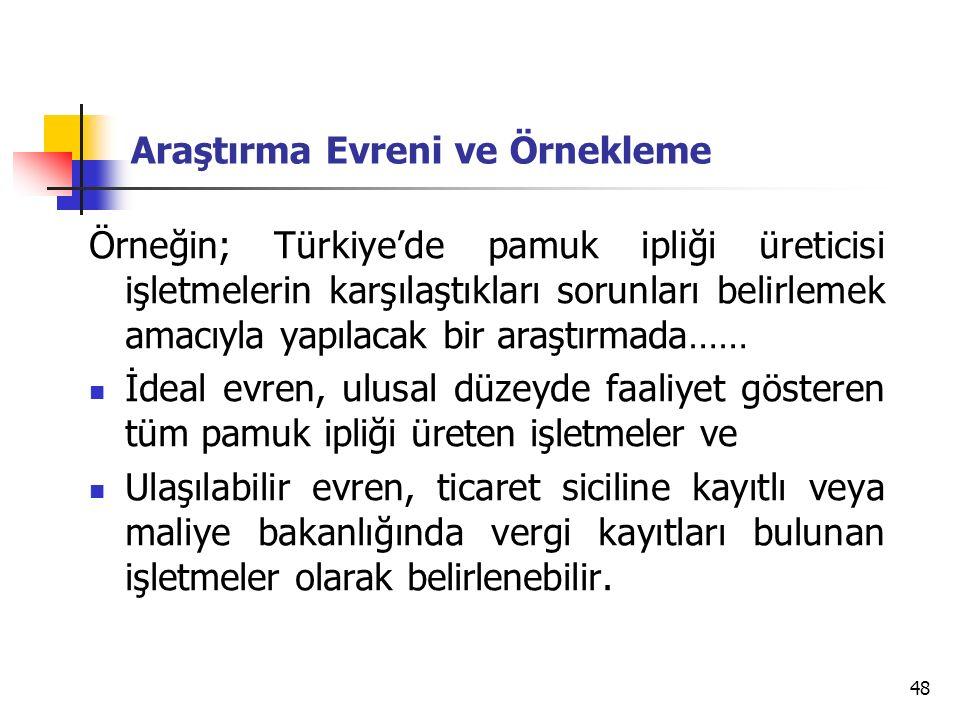 48 Araştırma Evreni ve Örnekleme Örneğin; Türkiye'de pamuk ipliği üreticisi işletmelerin karşılaştıkları sorunları belirlemek amacıyla yapılacak bir a