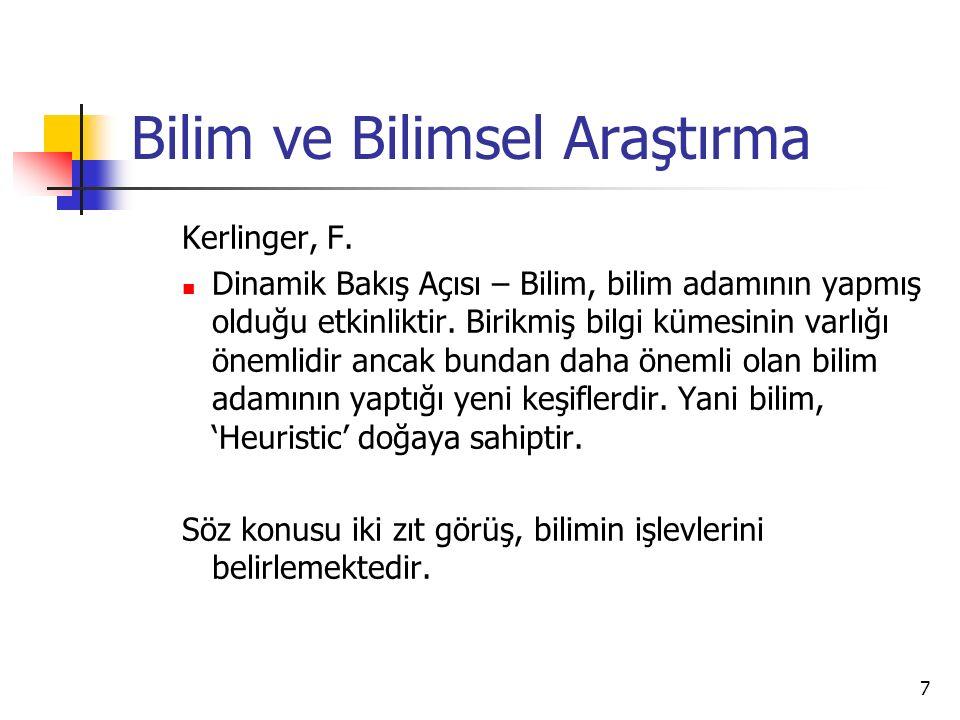 7 Bilim ve Bilimsel Araştırma Kerlinger, F.