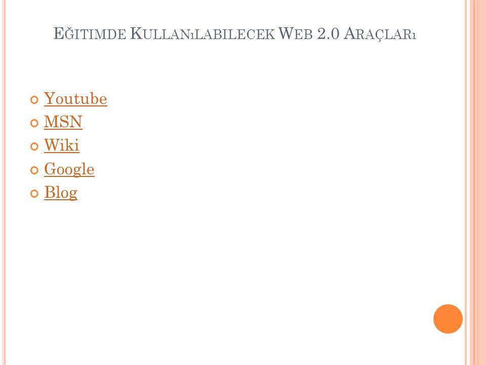 E ĞITIMDE K ULLANıLABILECEK W EB 2.0 A RAÇLARı Youtube MSN Wiki Google Blog