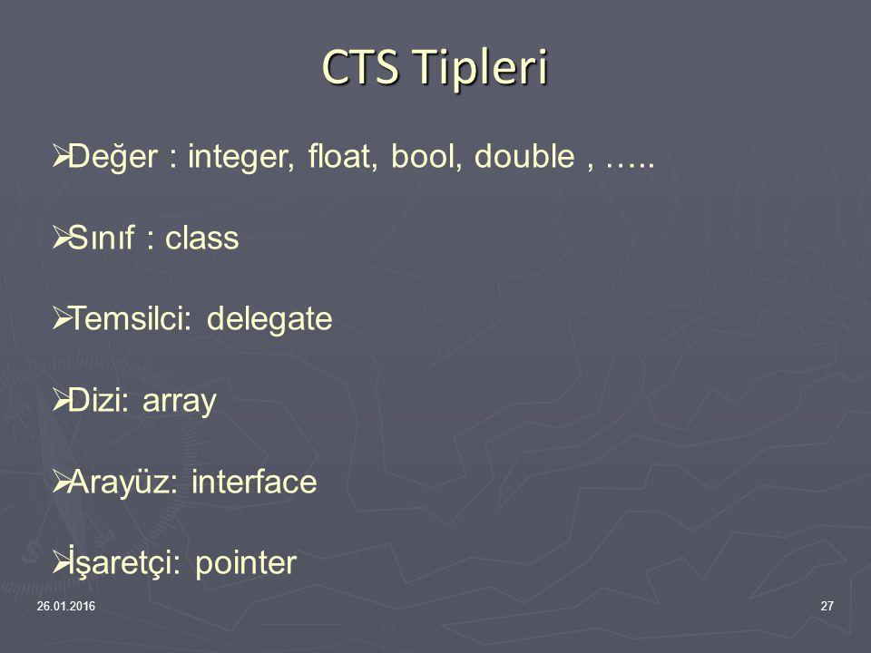 CTS (Common Type System) Görevleri 26.01.201626  Çoklu dil bütünleşmesi, tip güvenliği ve yüksek başarımlı kod çalışması için bir çerçeve  Çoklu diller için nesne yönelimli bir model  Farklı dillerde yazılan nesnelerin izleyeceği kurallar Ortak Tip Sisteminin Görevleri