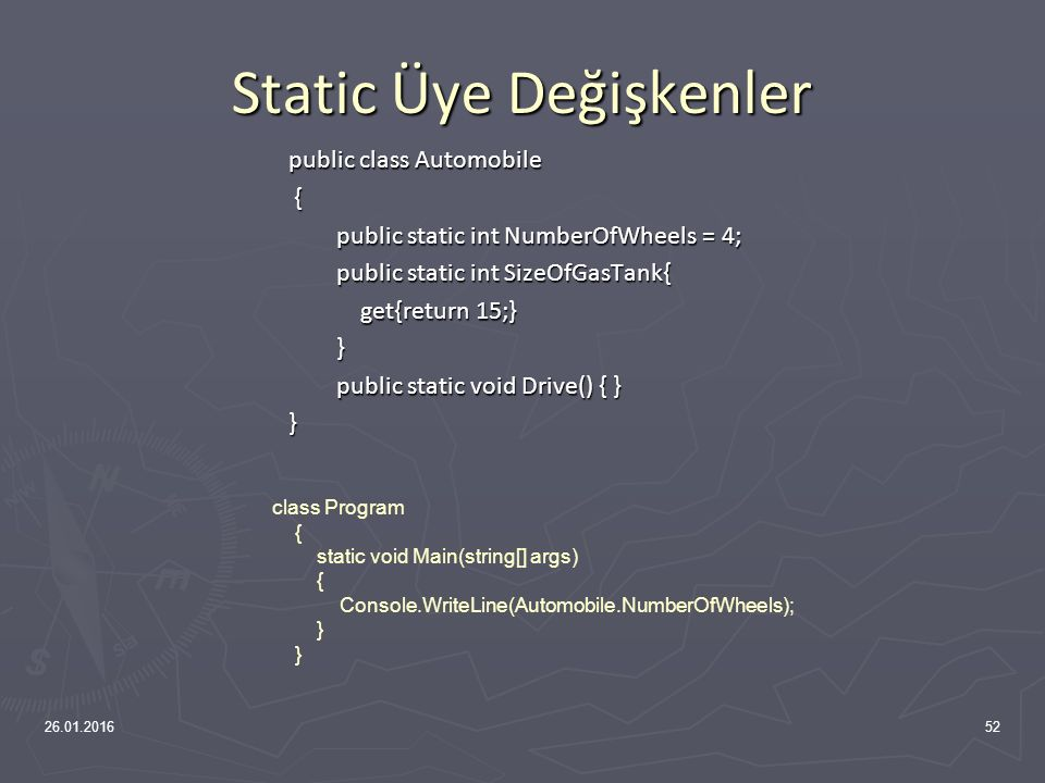 Statik Yapıcı class word { public word() { Console.WriteLine( Normal Yapıcı ); } static word() { Console.WriteLine( static yapıcı ); }