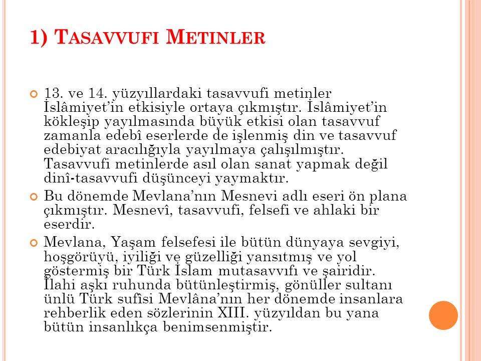 1) T ASAVVUFI M ETINLER 13.ve 14.