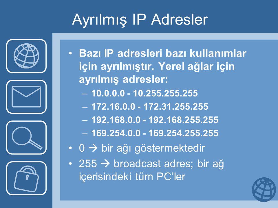 Ayrılmış IP Adresler Bazı IP adresleri bazı kullanımlar için ayrılmıştır. Yerel ağlar için ayrılmış adresler: –10.0.0.0 - 10.255.255.255 –172.16.0.0 -