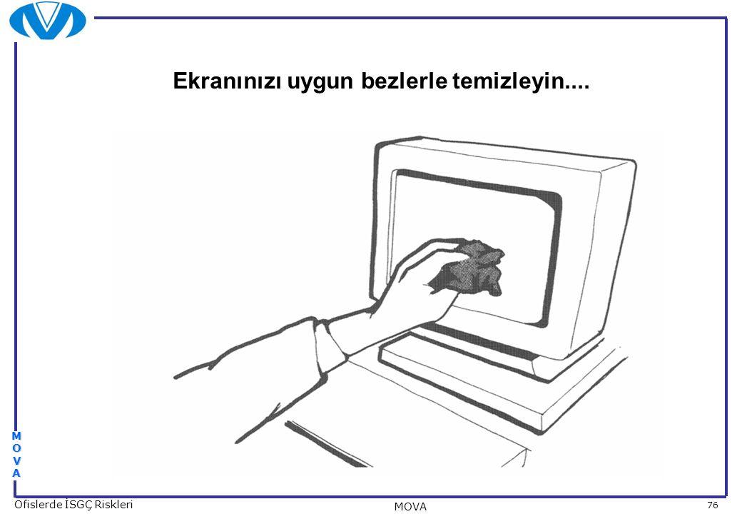 76 Ofislerde İSGÇ Riskleri MOVA MOVAMOVAMOVAMOVA Ekranınızı uygun bezlerle temizleyin....