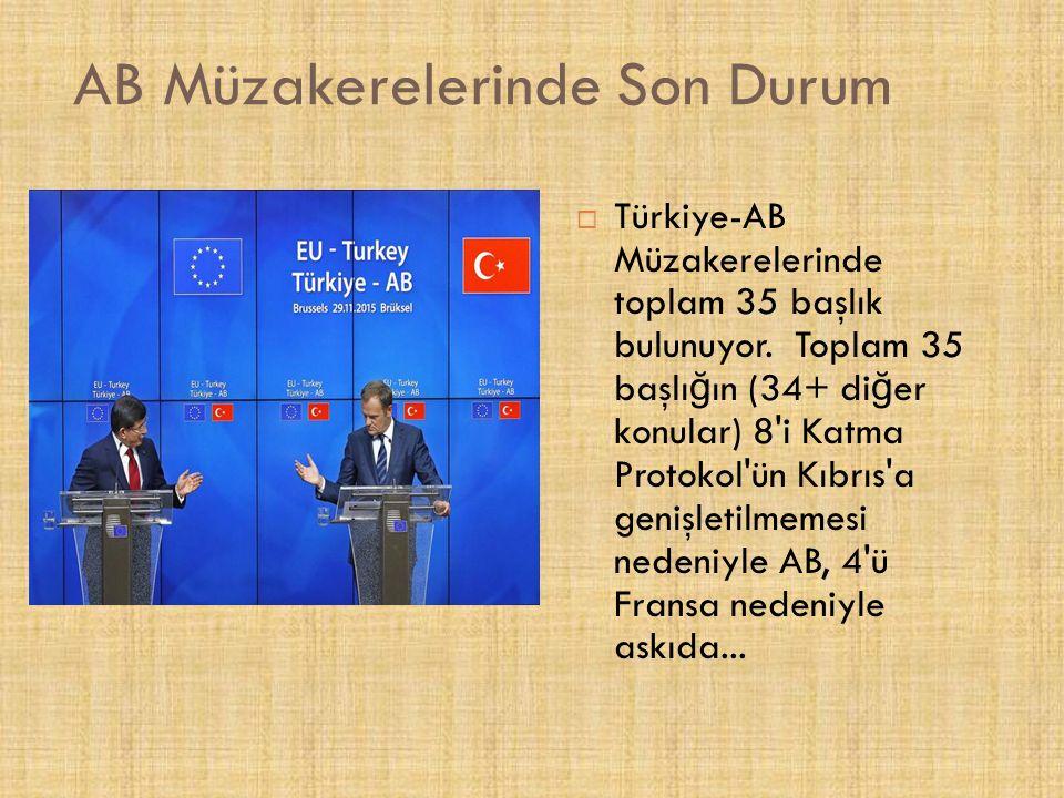 AB Müzakerelerinde Son Durum  Türkiye-AB Müzakerelerinde toplam 35 başlık bulunuyor.