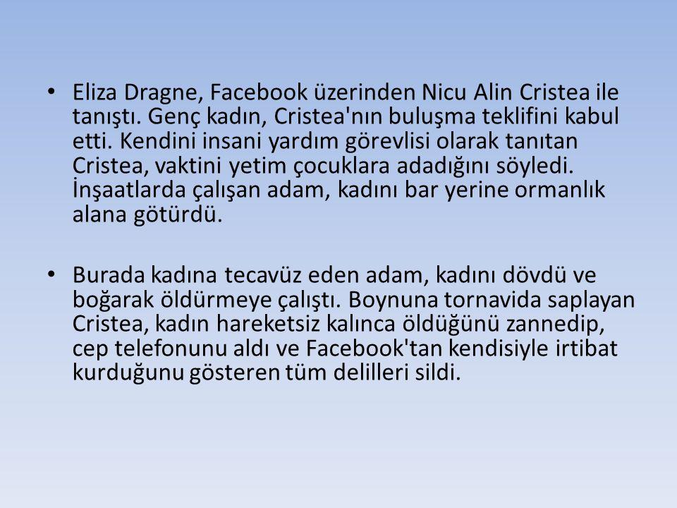 Eliza Dragne, Facebook üzerinden Nicu Alin Cristea ile tanıştı. Genç kadın, Cristea'nın buluşma teklifini kabul etti. Kendini insani yardım görevlisi