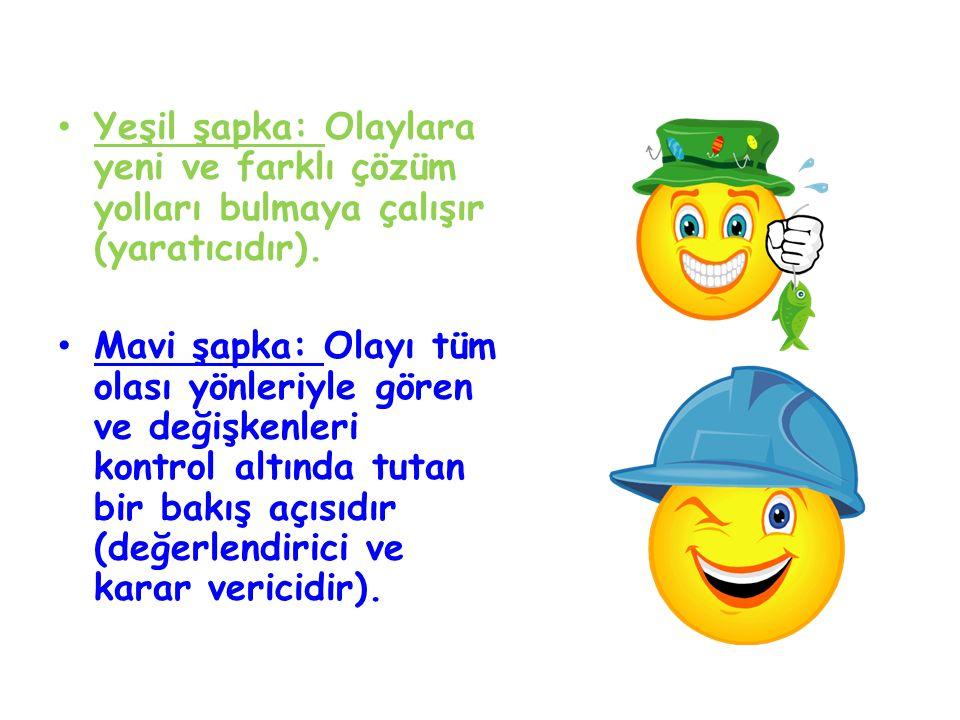Yeşil şapka: Olaylara yeni ve farklı çözüm yolları bulmaya çalışır (yaratıcıdır). Mavi şapka: Olayı tüm olası yönleriyle gören ve değişkenleri kontrol