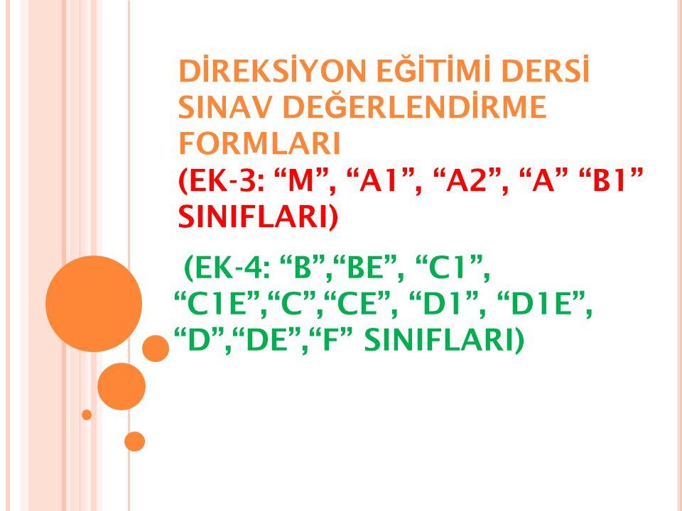 D İ REKS İ YON E Ğİ T İ M İ DERS İ SINAV DE Ğ ERLEND İ RME FORMLARI (EK-3: M , A1 , A2 , A B1 SINIFLARI) (EK-4: B , BE , C1 , C1E , C , CE , D1 , D1E , D , DE , F SINIFLARI)