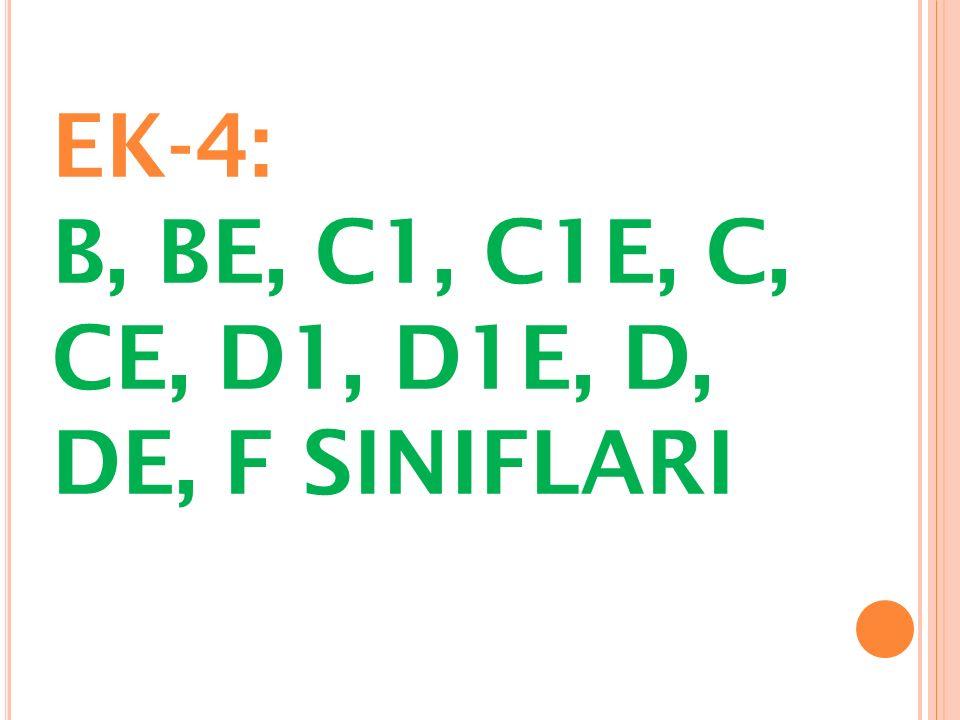 EK-4: B, BE, C1, C1E, C, CE, D1, D1E, D, DE, F SINIFLARI