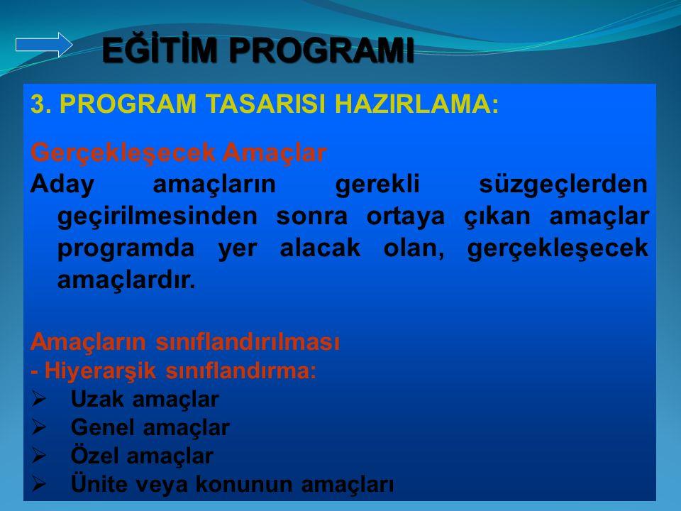 3. PROGRAM TASARISI HAZIRLAMA: Gerçekleşecek Amaçlar Aday amaçların gerekli süzgeçlerden geçirilmesinden sonra ortaya çıkan amaçlar programda yer alac