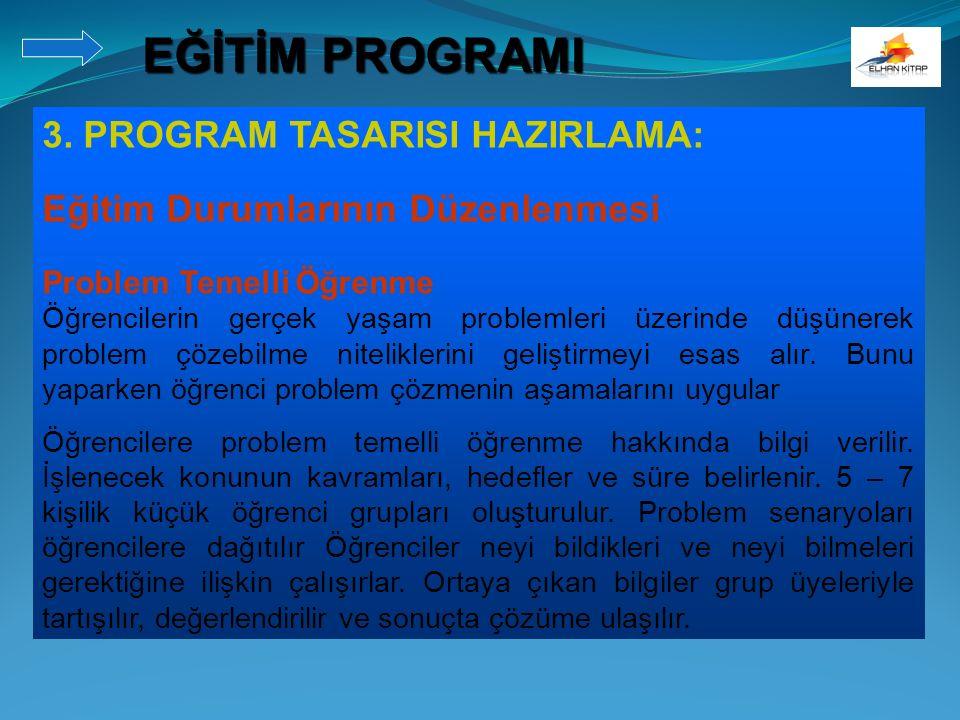 3. PROGRAM TASARISI HAZIRLAMA: Eğitim Durumlarının Düzenlenmesi Problem Temelli Öğrenme Öğrencilerin gerçek yaşam problemleri üzerinde düşünerek probl