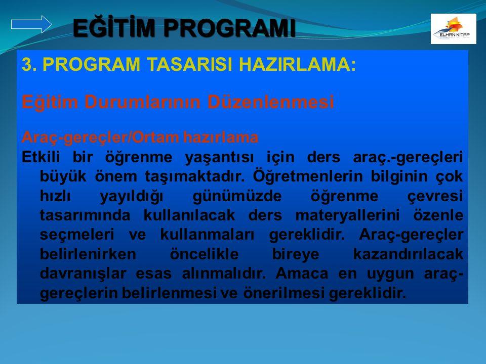 3. PROGRAM TASARISI HAZIRLAMA: Eğitim Durumlarının Düzenlenmesi Araç-gereçler/Ortam hazırlama Etkili bir öğrenme yaşantısı için ders araç.-gereçleri b