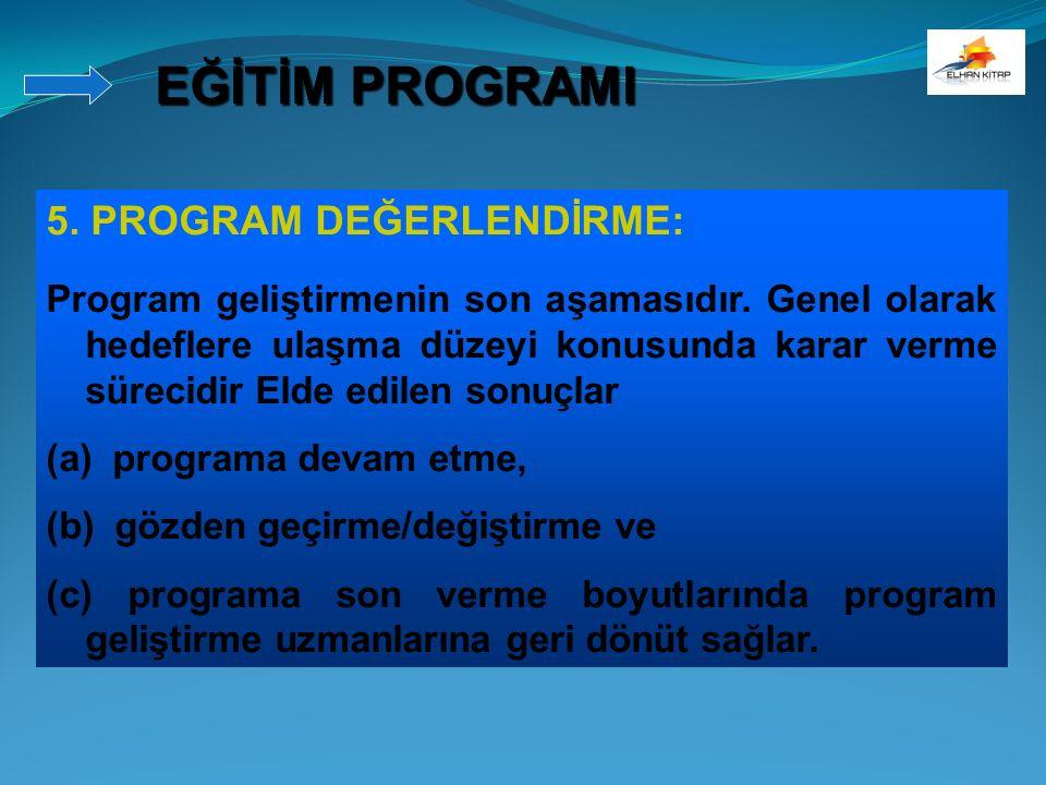 5. PROGRAM DEĞERLENDİRME: Program geliştirmenin son aşamasıdır. Genel olarak hedeflere ulaşma düzeyi konusunda karar verme sürecidir Elde edilen sonuç