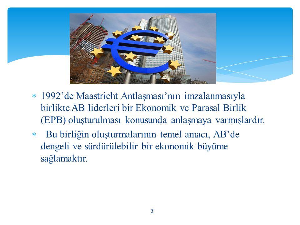  1992'de Maastricht Antlaşması'nın imzalanmasıyla birlikte AB liderleri bir Ekonomik ve Parasal Birlik (EPB) oluşturulması konusunda anlaşmaya varmış