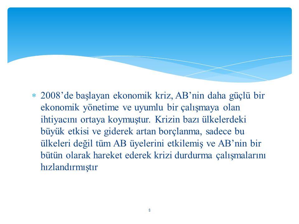  2008'de başlayan ekonomik kriz, AB'nin daha güçlü bir ekonomik yönetime ve uyumlu bir çalışmaya olan ihtiyacını ortaya koymuştur. Krizin bazı ülkele