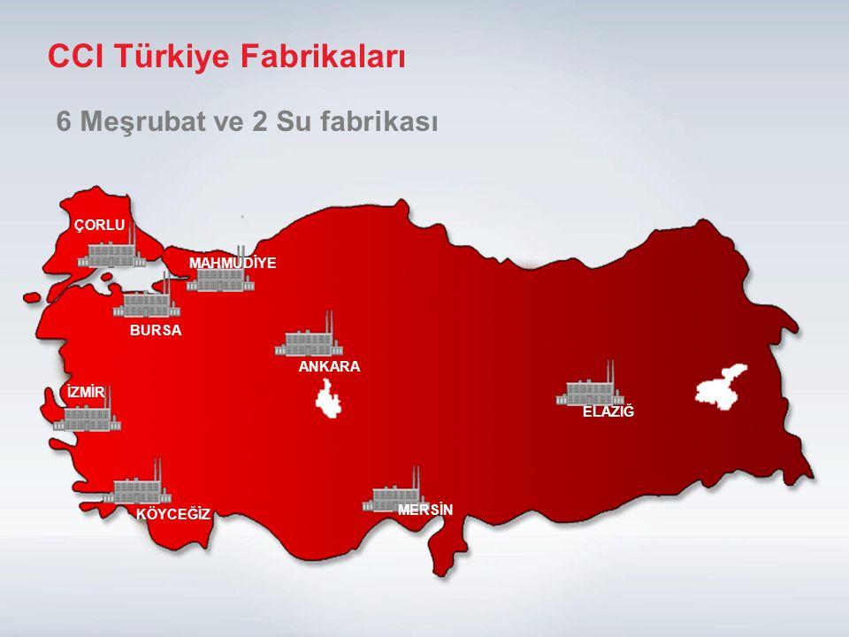 84 ÇORLU MAHMUDİYE BURSA ANKARA MERSİN ELAZIĞ İZMİR KÖYCEĞİZ 6 Meşrubat ve 2 Su fabrikası CCI Türkiye Fabrikaları