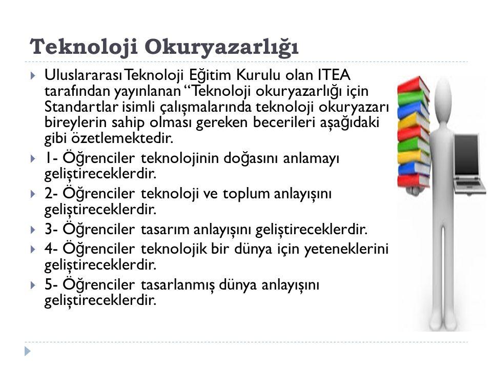 """Teknoloji Okuryazarlığı  Uluslararası Teknoloji E ğ itim Kurulu olan ITEA tarafından yayınlanan """"Teknoloji okuryazarlı ğ ı için Standartlar isimli ça"""