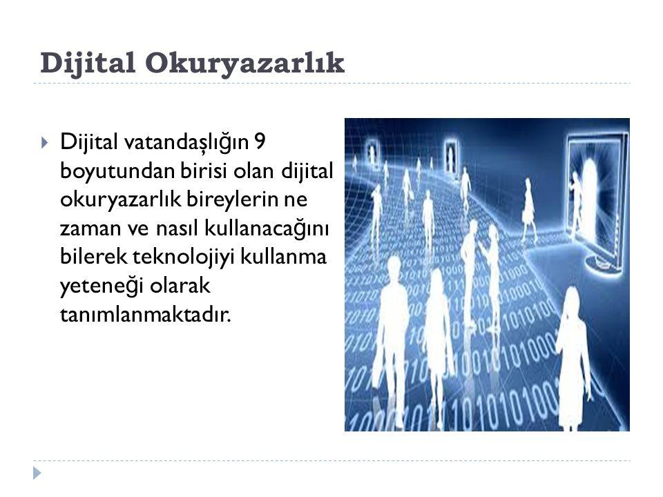 Dijital Okuryazarlık  Dijital vatandaşlı ğ ın 9 boyutundan birisi olan dijital okuryazarlık bireylerin ne zaman ve nasıl kullanaca ğ ını bilerek tekn