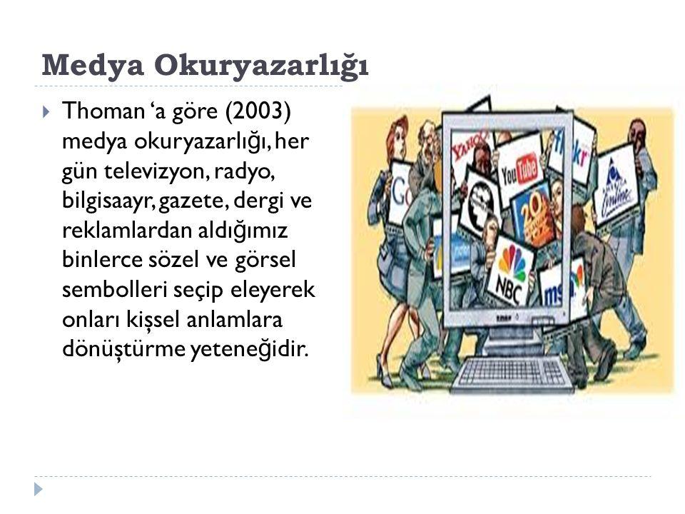 Medya Okuryazarlığı  Thoman 'a göre (2003) medya okuryazarlı ğ ı, her gün televizyon, radyo, bilgisaayr, gazete, dergi ve reklamlardan aldı ğ ımız bi