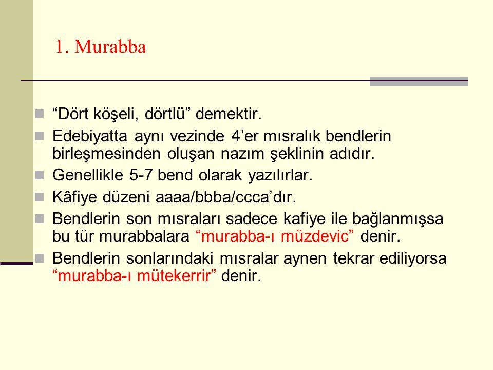 1.Murabba Dört köşeli, dörtlü demektir.
