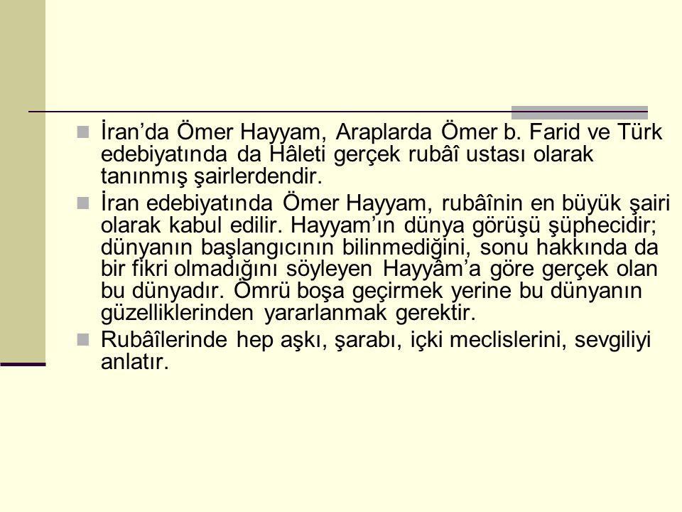 İran'da Ömer Hayyam, Araplarda Ömer b.