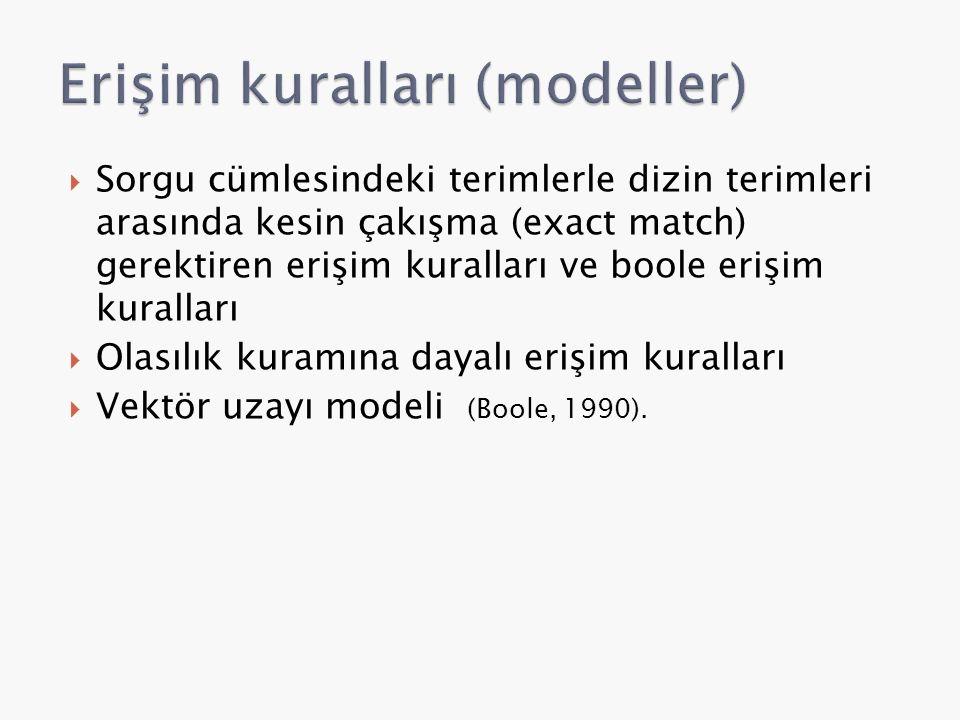  Sorgu cümlesindeki terimlerle dizin terimleri arasında kesin çakışma (exact match) gerektiren erişim kuralları ve boole erişim kuralları  Olasılık kuramına dayalı erişim kuralları  Vektör uzayı modeli (Boole, 1990).