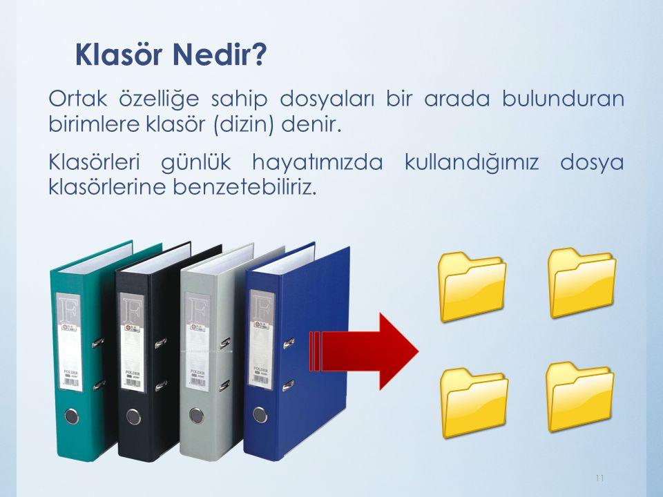 Klasör Nedir? Ortak özelliğe sahip dosyaları bir arada bulunduran birimlere klasör (dizin) denir. Klasörleri günlük hayatımızda kullandığımız dosya kl