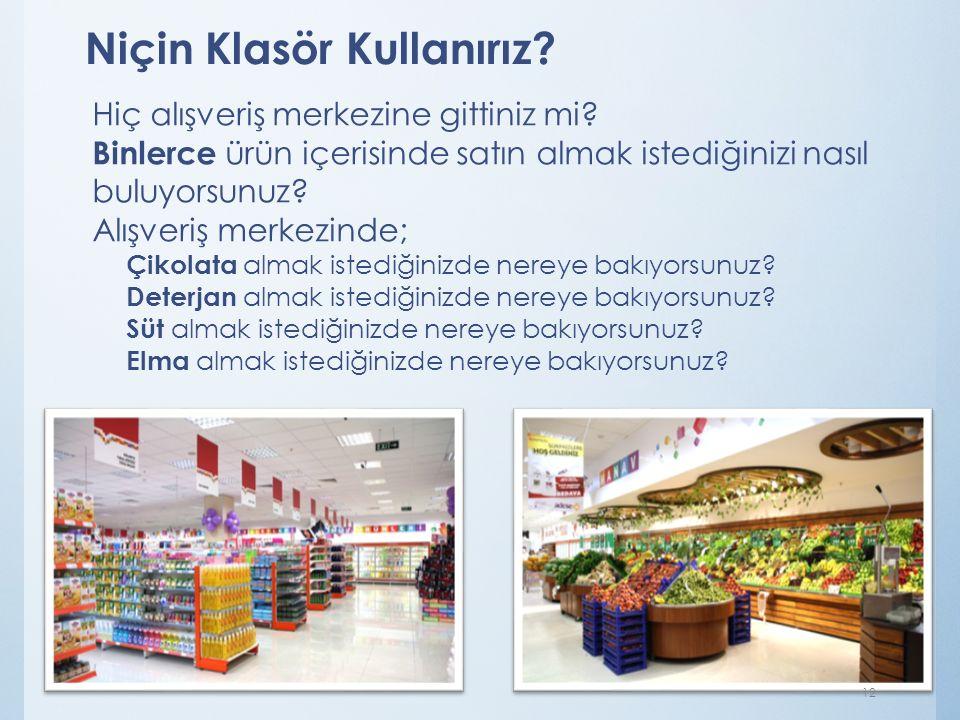 Niçin Klasör Kullanırız? Hiç alışveriş merkezine gittiniz mi? Binlerce ürün içerisinde satın almak istediğinizi nasıl buluyorsunuz? Alışveriş merkezin