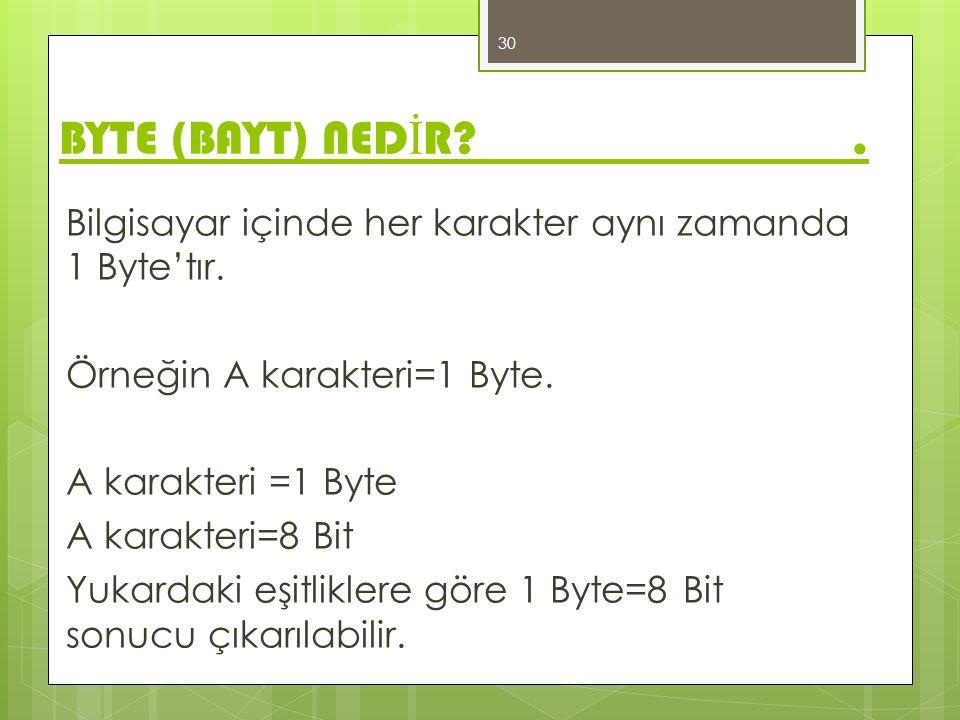 Bilgisayar içinde her karakter aynı zamanda 1 Byte'tır. Örneğin A karakteri=1 Byte. A karakteri =1 Byte A karakteri=8 Bit Yukardaki eşitliklere göre 1