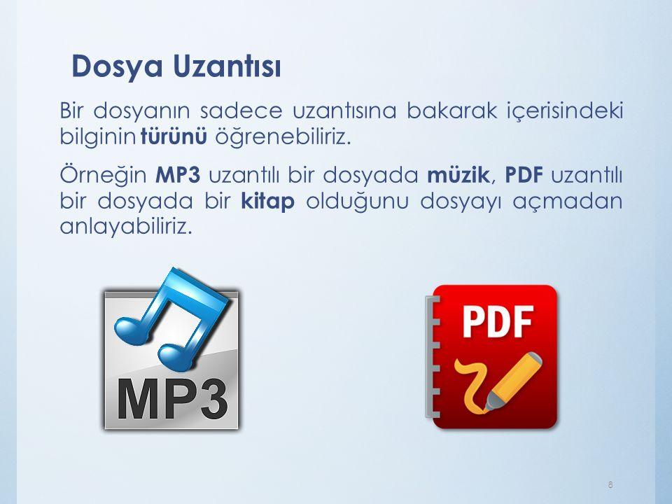 Dosya Uzantısı Bir dosyanın sadece uzantısına bakarak içerisindeki bilginin türünü öğrenebiliriz. Örneğin MP3 uzantılı bir dosyada müzik, PDF uzantılı