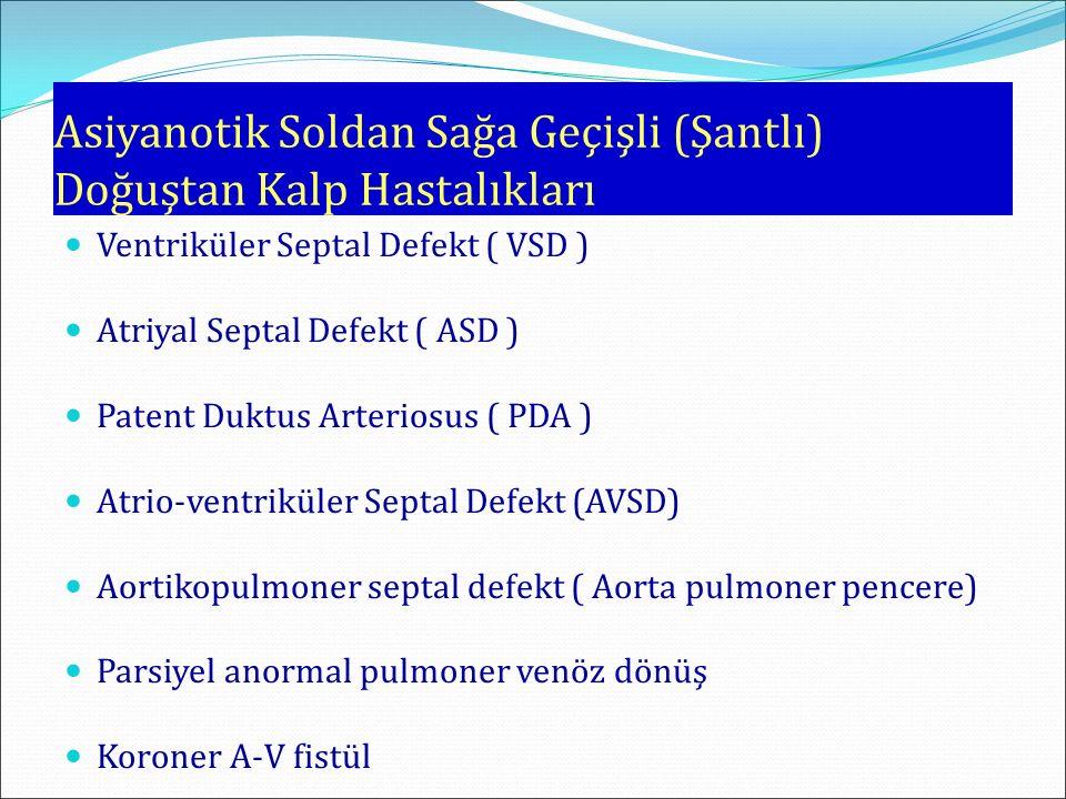 Asiyanotik Soldan Sağa Geçişli (Şantlı) Doğuştan Kalp Hastalıkları Ventriküler Septal Defekt ( VSD ) Atriyal Septal Defekt ( ASD ) Patent Duktus Arter