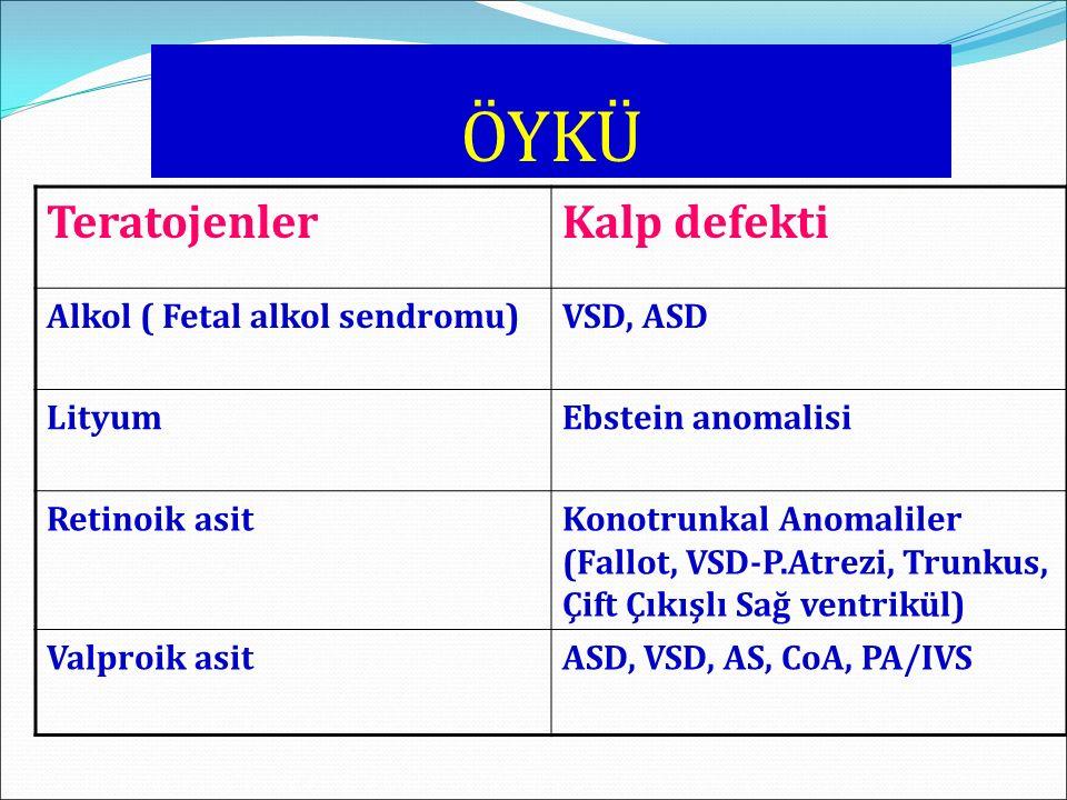 ÖYKÜ TeratojenlerKalp defekti Alkol ( Fetal alkol sendromu)VSD, ASD LityumEbstein anomalisi Retinoik asitKonotrunkal Anomaliler (Fallot, VSD-P.Atrezi,