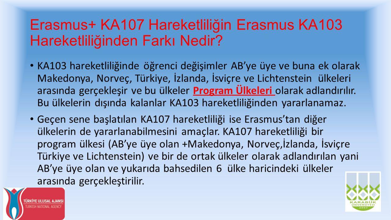 Erasmus+ KA107 Hareketliliğin Erasmus KA103 Hareketliliğinden Farkı Nedir? KA103 hareketliliğinde öğrenci değişimler AB'ye üye ve buna ek olarak Maked